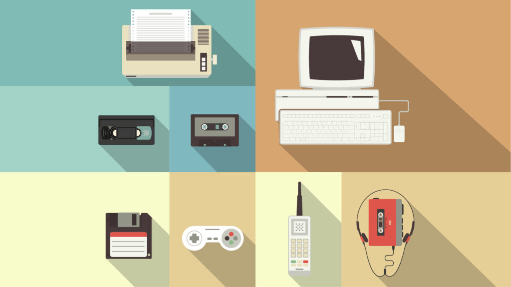 vintage computer, type writer, vhs, nintendo controller, and walkman