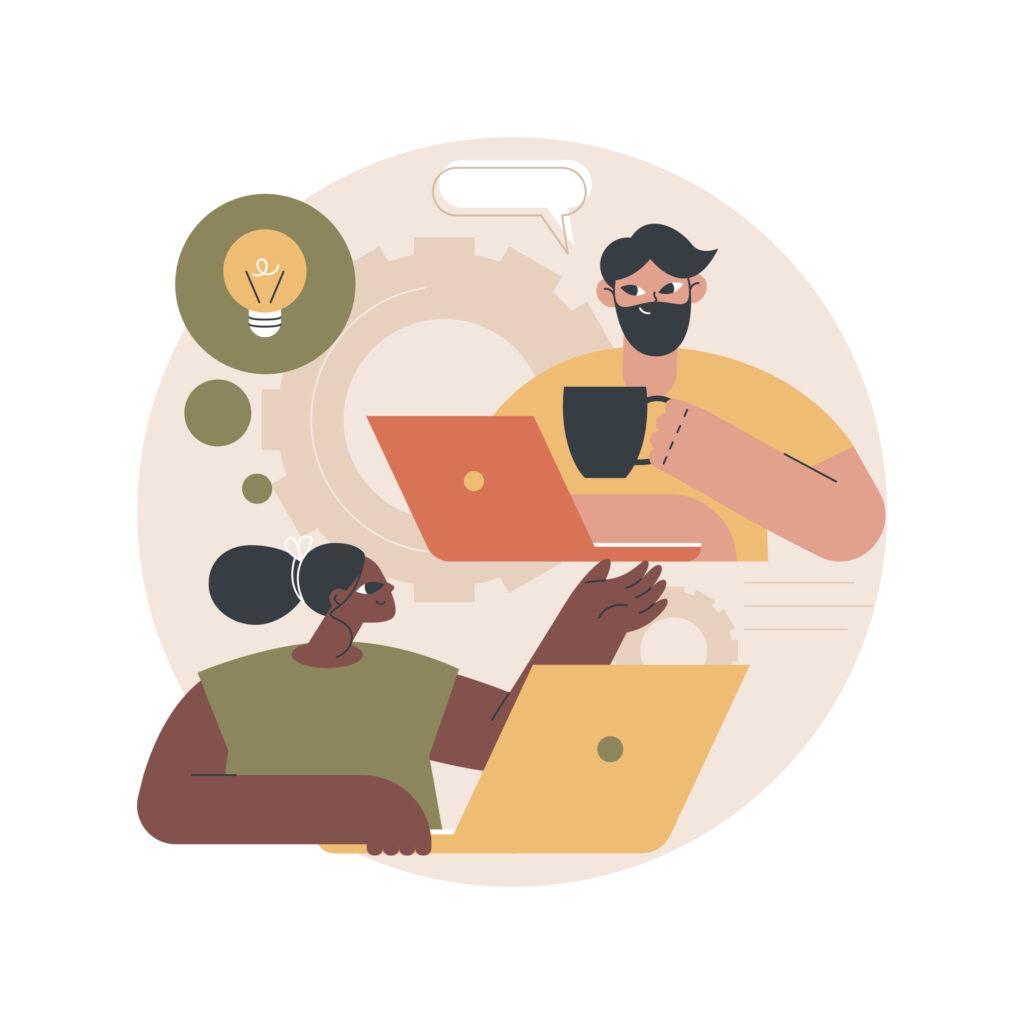 two people having virtual coffee